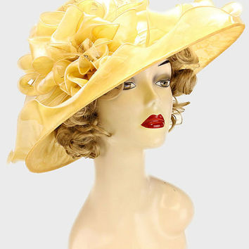 Kentucky Derby Church Wedding Tea Party Classic Style Lace Organza Hat - Gold