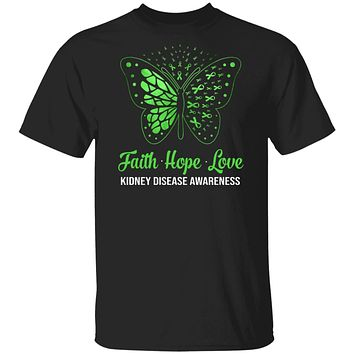 Faith Hope Love Green Butterfly Kidney Disease Awareness