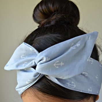 Gray Anchor Dolly bow Headband, hair bow head band
