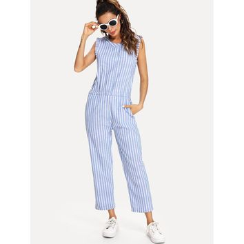 Hidden Pocket Stripe Jumpsuit