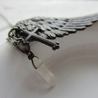 Wing and A Prayer - Cluster Pendant Necklace Black Angel Wing, Black Cross and Crystal Quartz Point  Edgy Bohemian Jewelry