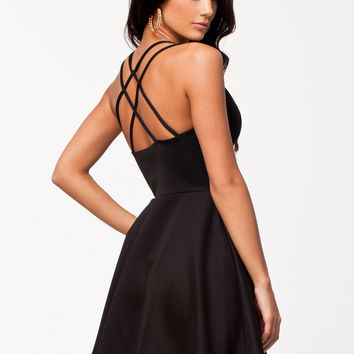 Black Plain Strappy Crisscross Back Skater Dress