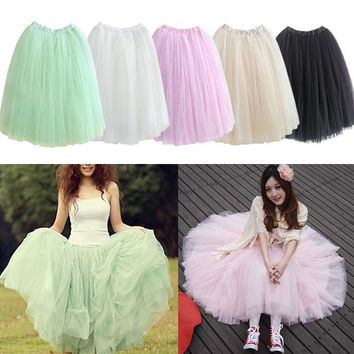 Fashion Women Layers Skirt Dress Long Maxi Tutu Princess Petticoat 6 colors = 1946558596