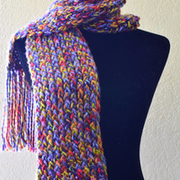 handmade multicolored scarf, warm weather accessories, knitted scarf
