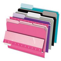 Interior File Folders, 1/3 Cut Top Tab, Letter, Pastel Assortment, 100/Box