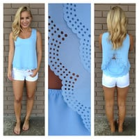 Baby Blue Scallop Cut Sleeveless Blouse