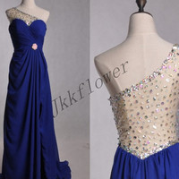 Long Dark Royla Blue Beaded Prom Dresses,Sexy See Through Back Evening Dresses, A Line Party Dresses,Bridesmaid Dresses,Homecoming Dresses