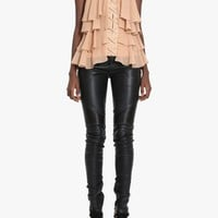 Ribbed stretch leather biker pants | Women's leather trousers | Balmain