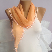 Orange Floral Lace Scarf - Pale Orange Scarf - Cowl Scarf - Bridesmaid Gift - Wedding Scarf
