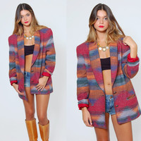 Vintage 80s SOUTHWESTERN Jacket TRIBAL Blazer Native Blanket Coat Oversized Aztec Jacket