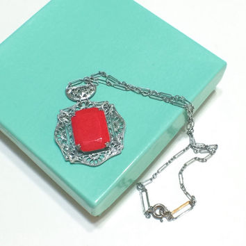 Art Deco Pendant Necklace, Rhodium Filigree Necklace, Lipstick Red Cabochon, Paper Clip Chain,  1920s, Vintage Jewelry, Antique Jewelry