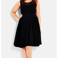 Plus Size Women's City Chic Crochet Yoke Fit & Flare Dress