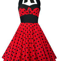 Free Shipping 50s ROCKABILLY POLKA DOT VINTAGE RETRO PIN UP SWING PARTY PROM DRESS SIZE 8-24