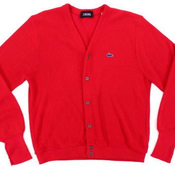 Vintage Izod Lacoste Cardigan in Red - Sweater V Neck Jumper Ivy League Menswear - Men's Size Extra Large XL