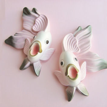 Miller Studio Chalkware Wall Hangings 1970 Pink And Grey Fish Pair Of Two Wall Plaques Retro Bath Decor Kitsch