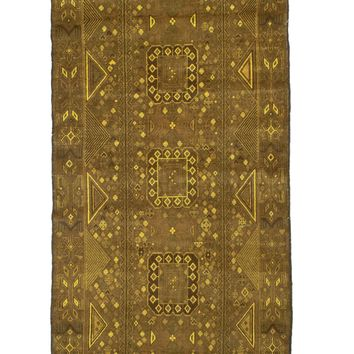 4x6 Overdyed Vintage Tribal Gold Rug 2521