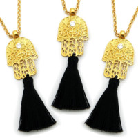Gold Hamsa Protection Necklace
