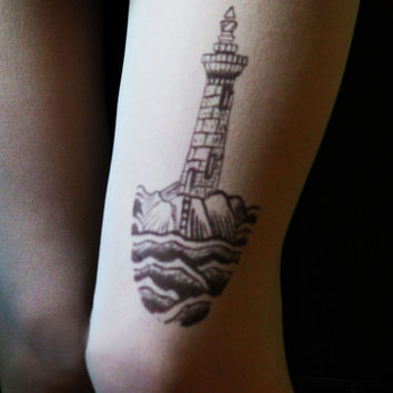 lighthouse, lighthouse tattoo, tattoo tights,pantyhose