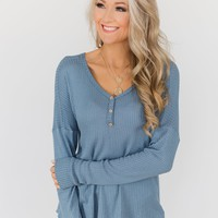 Knowing You V-Neck Thermal Top- Slate Blue