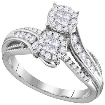14kt White Gold Womens Princess Round Diamond Soleil Bypass Bridal Wedding Engagement Ring 1/2 Cttw