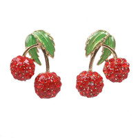 Cherry Rhinestone Post Earrings