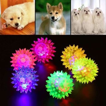 Fashion 1pcs Dog Puppy Cat Pet LED Squeaky Hedgehog Ball Rubber Bell Sound Ball Fun Night Light Playing Toy Free Shipping