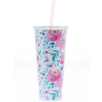Blush Florals Acrylic Tumbler with Pink Straw