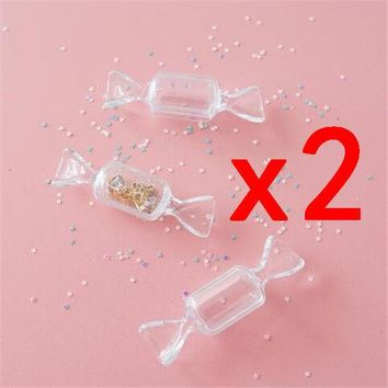 2Pcs Nail Art Storage Box Plastic Organizer Manicure Transparent Candy Design t