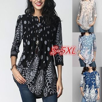 Women's Fashion 3/4 Sleeve Pintuck Notch Neck Tunic Button Print Ruffle Blouse