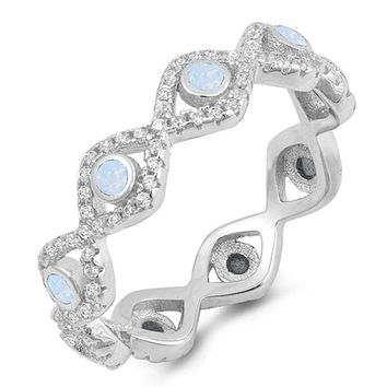 Eternity Band of Light Blue White Bezel Evil Eye Lab Opals Set in Cubic Zirconia and Sterling Silver