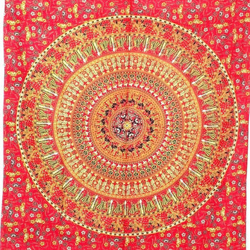 Red Mandala Tapestry , Indian Hippie Wall Hanging , Bohemian Twin Wall Hanging, Bedspread Beach Coverlet throw Decor Art