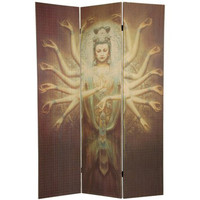 Oriental Furniture SSPF09-17 Six Ft. Tall Thousand Arm Kwan Yin Bamboo Room Divider, Width - 46.5 Inches