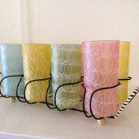 Mid Century Modern Spaghetti String Rubberized Cocktail Juice or Water Glasses with Carrier Very Atomic Retro!