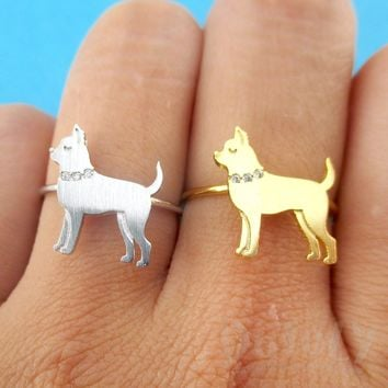 Chihuahua with Rhinestone Collar Shaped Adjustable Ring in Silver or Gold