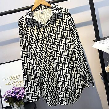 FENDI Fashionable Women Retro Chic F Letter Print Long Sleeve Lapel Shirt Top White