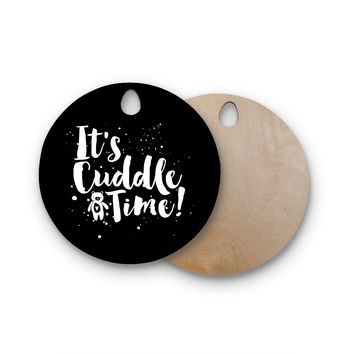 "Nick Atkinson ""Cuddle Time"" Black White Round Wooden Cutting Board"