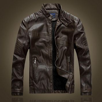Stand Collar Leather Jacket Men Motorcycle Lining Slim Fit Coat