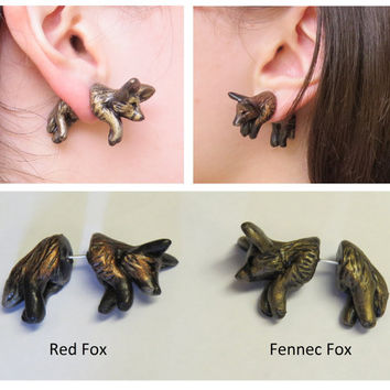 Faux Gauge Red or Fennec Fox Earrings Pair Cute Jumping Through Ear