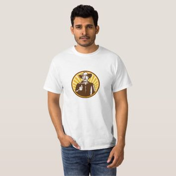 Cowboy Thumbs Up Sunburst Circle Woodcut T-Shirt