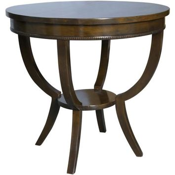 Dudley Round End Table, Distressed Brown