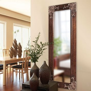 Full Length 63-in Wall Mirror with Quality Wood Frame & Antique Silver Gold Accents