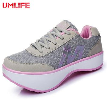 UMLIFE Women's Platform Fitness Shoes Light Toning Shoes Women Wedge Height Increasing Sneakers Ladies breathable shoes sports