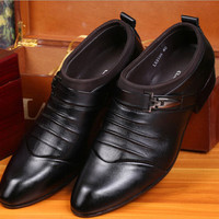 New Mens Pointed Toe business casual shoes Formal leather dress Wedding shoes