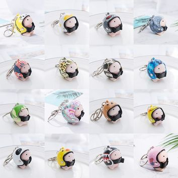 Cute Helmet Small Tintin Hat  Key Chain Dingding Squishy Toy Key Protector Charm Jewelry for Women Bag Accessories SP1457Kawaii Pokemon go  AT_89_9