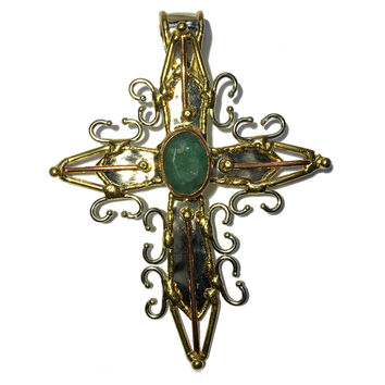 Emerald Pendant 06 Spiritual Lightworkers Cross Green Gemstone