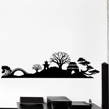 Wall Vinyl Decal Japan Japanese View Oriental Temple Home Interior Decor Unique Gift z4439