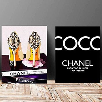 Wall Art Poster Print - COCO CHANEL, Shoes, Book, Handbag Vogue - Famous Fashion Quote - Black WaterColor - 675, 610