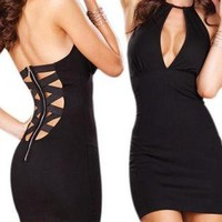 A Halter V Collar Sexy Tight Dress