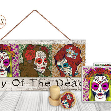 "Gift Set, 4 PC, Day of the Dead, Sugar Skulls 5"" x 10"" Wood Sign, Two Coasters, One Decorative Wine Stopper, Gift Package, Made To Order"