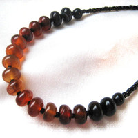 "Dainty, simple, ombré black, red & orange agate necklace. Long, layering necklace. Casual, everyday jewelry. ""Dream agate"""